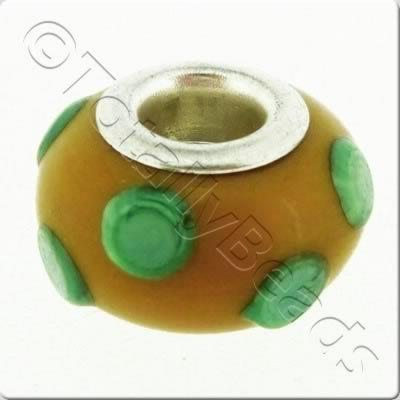 Large Hole Ceramic Bead - Green Dotted Brown