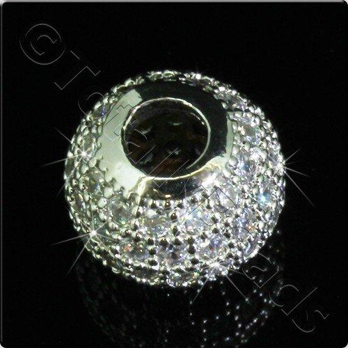 Pave Crystal Bead - Silver Round
