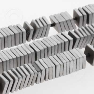 Hematite Square 4mm Heshi - Matt Silver Plated