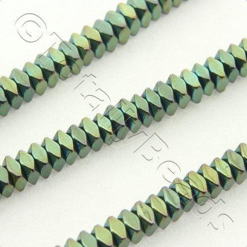 Hematite Facet Square 2x1mm - Green Plated