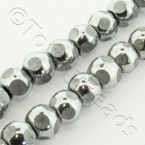 Hematite Round 6mm Cutting - Silver Plated