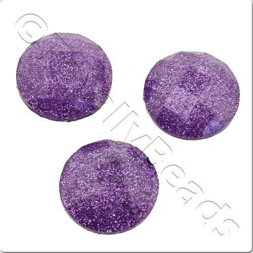 Resin Cabochon 10mm - Facet Sparkle Amethyst 10pcs