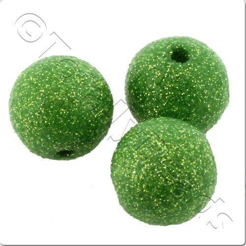Resin Glitter Round 10mm Bead - Green