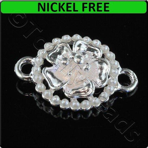 Silver Metal Connector Large Ring Pearl Flower 25x17mm 2pcs