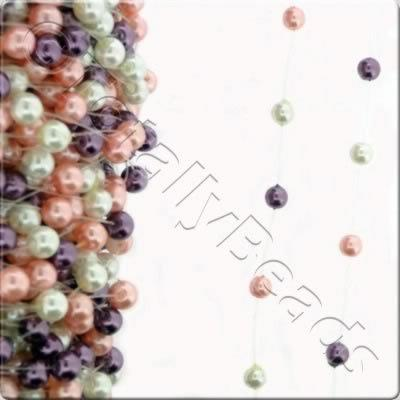 Glass Pearl - Pre Strung - 8mm White Pink Amethyst - 1m