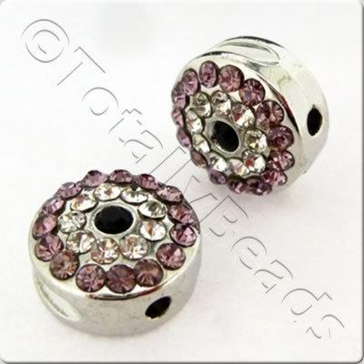 Shamballa Rhodium Coin - Light Amethyst