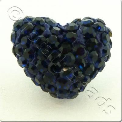 Shamballa Heart Bead - 20mm - Midnight Blue