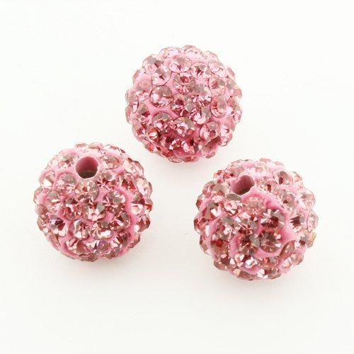Shamballa Bead 10mm Round - Rose