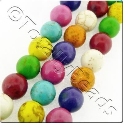 Synthetic Turquoise 10mm Round Beads - Mix