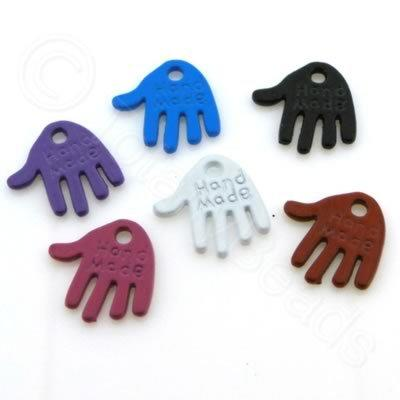 Metal Coloured Charms - 12x12mm - Hands Mixed
