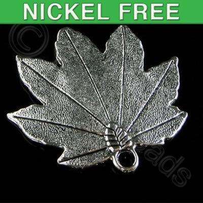 Antique Silver Pendant - Leaf 46mm