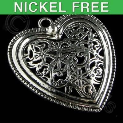 Antique Silver Pendant - Heart 38mm