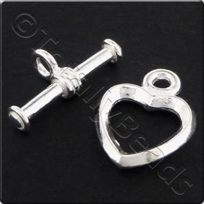 Sterling Silver - Toggle - Heart 12mm