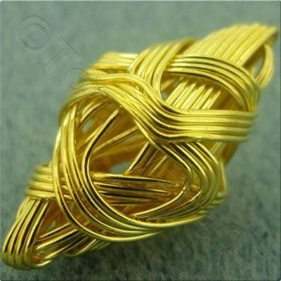 Multi Wire Bead - Diamond 25x15mm - Gold