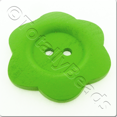 Wooden Flower Button 50mm - Green