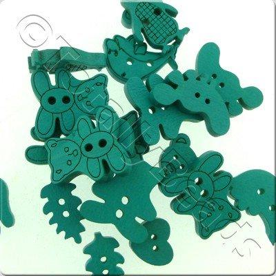 Wooden Button Mixed Shapes - Turquoise