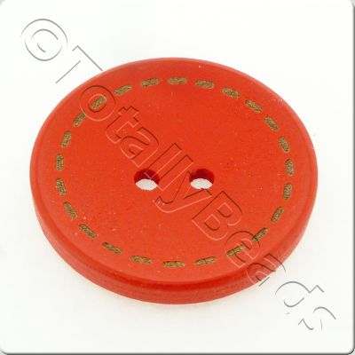 Wooden Button Stitch Effect 30mm - Red