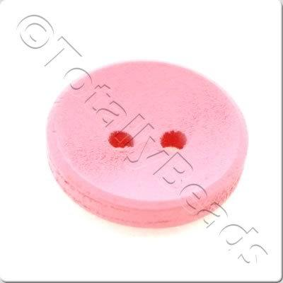 Concave Wooded Button 15mm - Pink