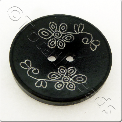Printed Black Wooden Button - 6pcs - 5 style to choose from
