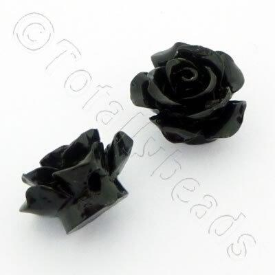Acrylic Rose 15mm 1 Row - Black 4pcs
