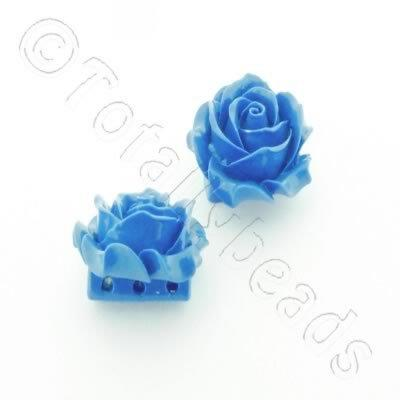 Acrylic Rose 35mm 3 Rows - Blue