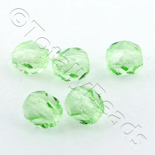Czech Fire Polished 4mm Faceted - Light Green - 100pcs