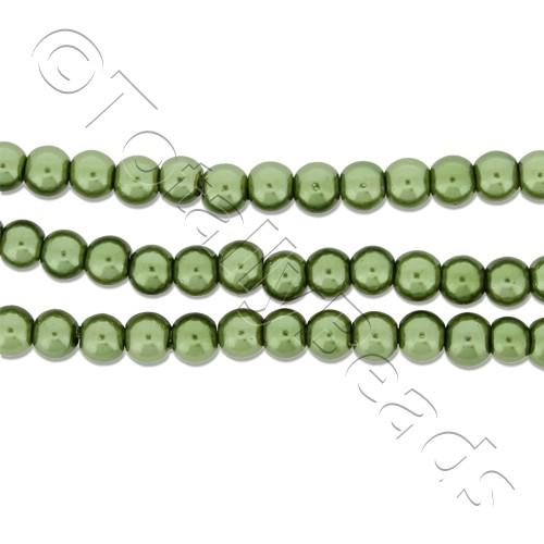 Glass Pearl Round Beads 4mm - Olive
