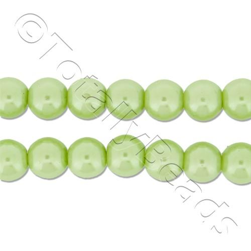 Glass Pearl Round Beads 6mm - Lime Green