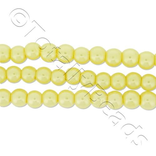Glass Pearl Round Beads 4mm - Lemon