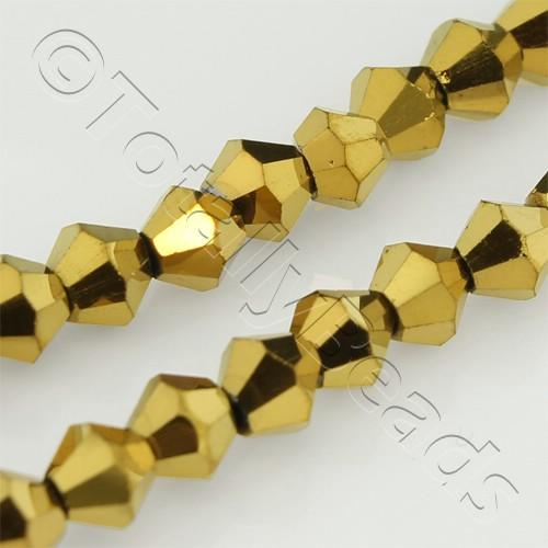 Crystal Bicone 4mm - Gold Plate
