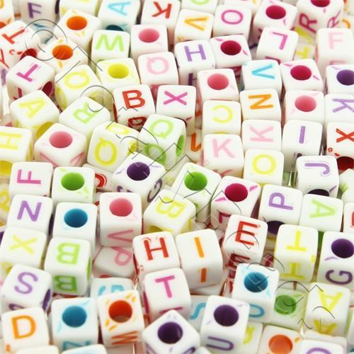 Acrylic Alphabet Beads - Coloured Cubes 6mm - 250pcs