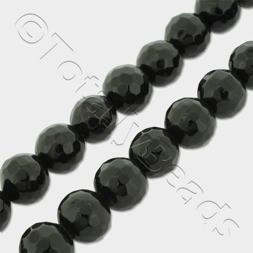"Synthetic Onyx Round Faceted Beads 8mm 16"" String"