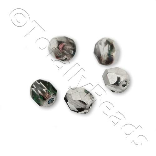 Czech Fire Polished 4mm Faceted - Crystal Heliotrape - 100pcs