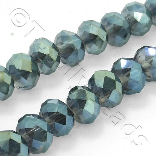 "Crystal Rondelle 6x8mm - Midnight Green 16"" String"