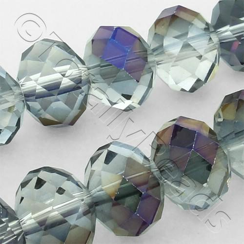 Crystal Rondelle 8x10mm - Clear Purple Rainbow