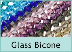Glass Bicone with Silver Edge