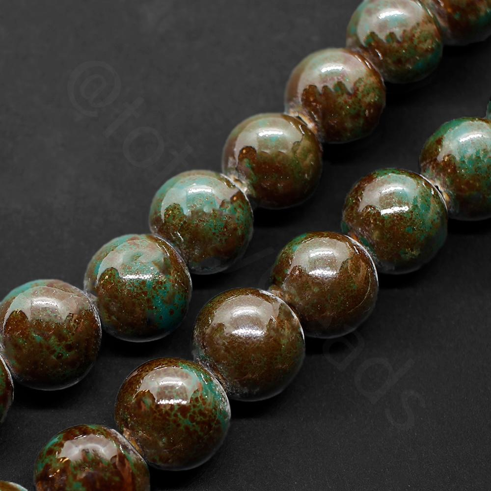 Ceramic Beads - Round 15mm - Dark Green / Brown