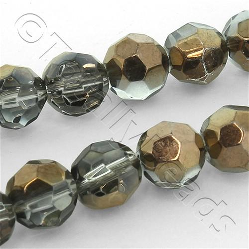 Faceted Glass 8mm Round Bead - Bronze Shadow