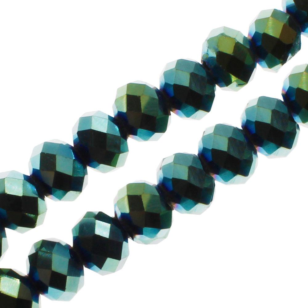 "Crystal Rondelle 6x8mm - Green Iris 16"" String"