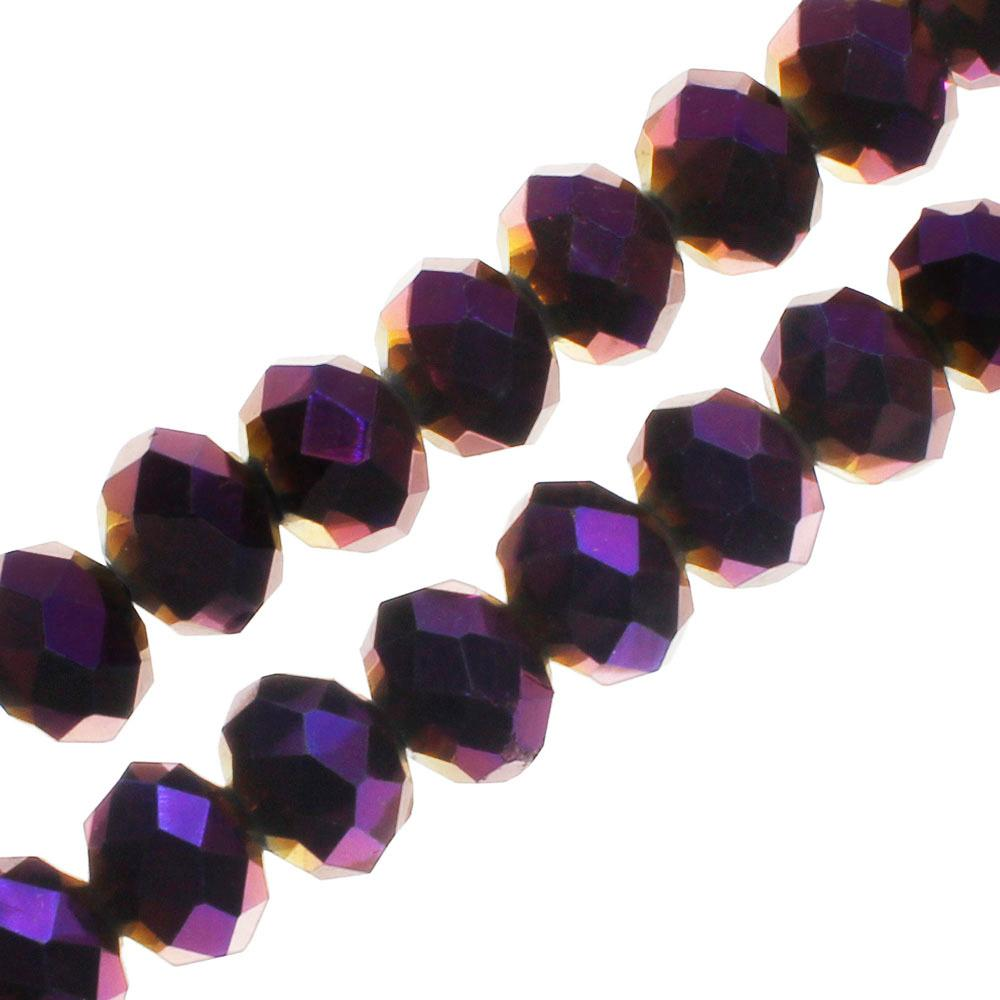 "Crystal Rondelle 6x8mm - Purple Iris 16"" String"