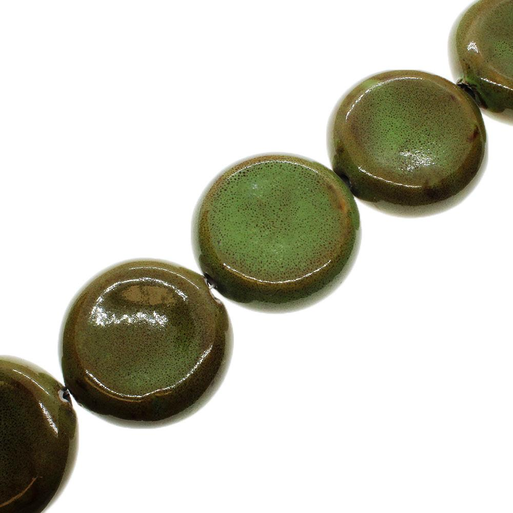 Ceramic Beads - Concave Disc 40mm - Green