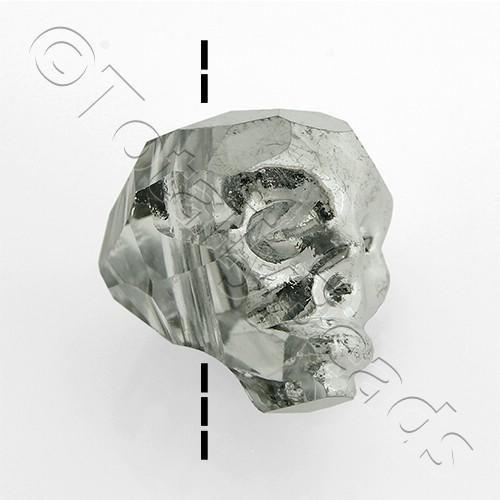 Crystal Skull Bead 13mm 1 Piece - Half Silver