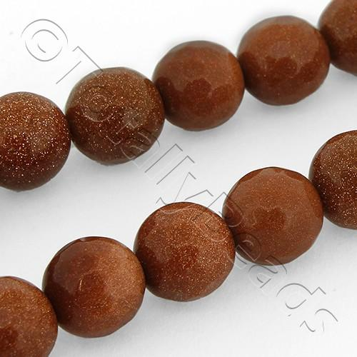 "Gold Sandstone Beads - Facet Round 8mm 16"" String"