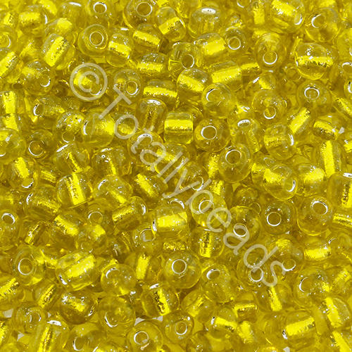 Seed Beads Silver Lined  Yellow - Size 6