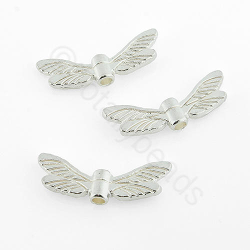 Tibetan Silver Bead - Dragonfly Wing 7x20mm - Silver