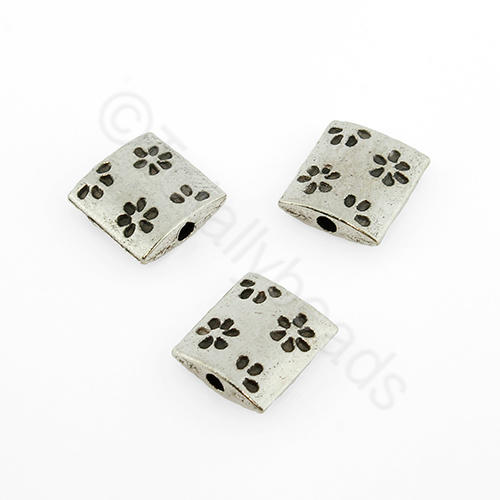 Antique Silver Square Bead - 10mm - Flower Design