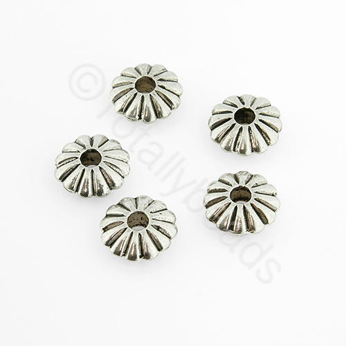 Antique Silver Rondelle - 8x3mm -12pcs