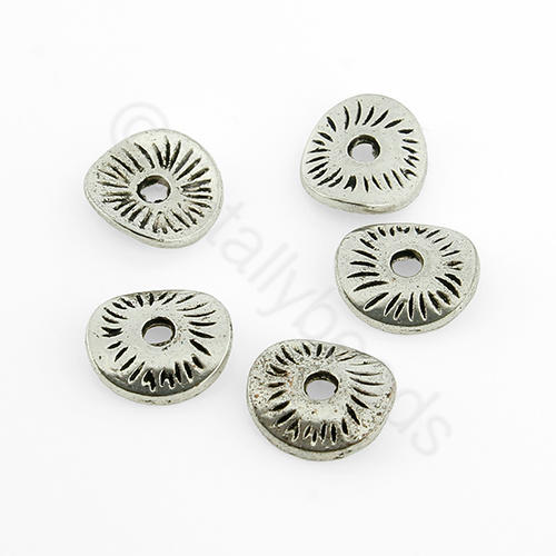 Antique Silver Bead - Curve Disc 8mm 40pcs