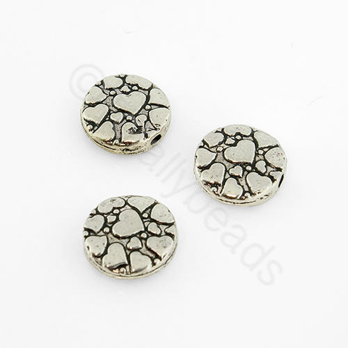 Tibetan Silver Bead - Heart Disc 10mm