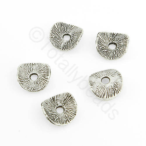 Antique Silver Metal Bead - Curve Disc 8mm 40pcs - H1080